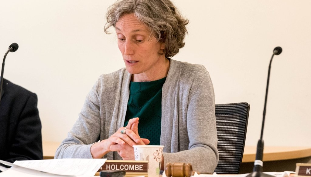 Rebecca Holcombe at a meeting in 2017, during her time as education secretary. Photo by Bob LoCicero/VTDigger