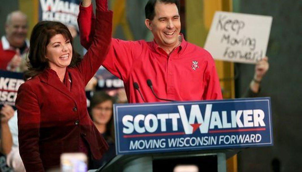 Wisconsin Lt. Gov. Rebecca Kleefisch and Gov. Scott Walker announced their re-election bids on Nov. 5, 2017. (Michael Sears/Milwaukee Journal Sentinel)