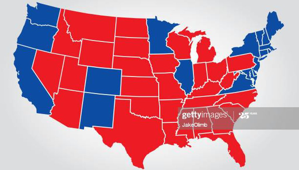 Red and blue states 2016. (Getty Images)