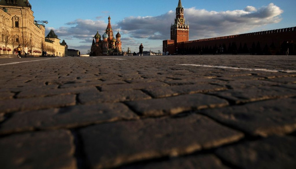 A view of a nearly empty Red Square in Moscow on March 23, 2020. It's an unusual sight and is due to restrictions on movement due to the coronavirus. (AP)