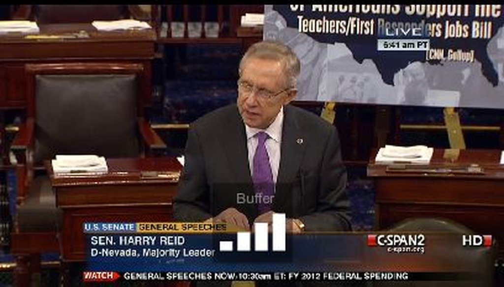 Senate Majority Leader Harry Reid, D-Nev., offered a rosy view of private-sector job creation during a Senate floor speech. How justified is that view?