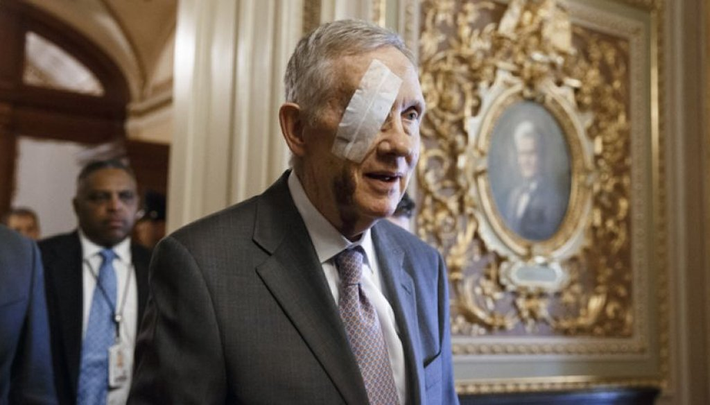 A Nevada man decides to test how far a blogger will go to publish an uncorroborated story about Senate Minority leader Harry Reid's January eye injury. AP photo.