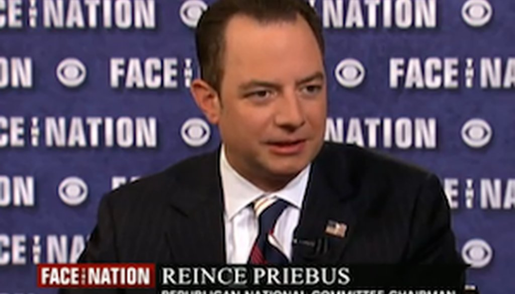 """Republican National Committee Reince Priebus appears on """"Face the Nation"""" on June 15, 2014."""