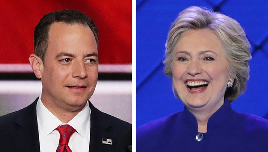 Republican National Committee chairman Reince Priebus, a Wisconsinite, made claims attacking Hillary Clinton during the 2016 Republican National Convention.