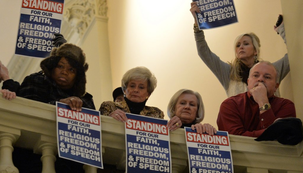 Supporters of a religious freedom bill rally at the Capitol in 2015. The Legislature could soon have its first openly gay man debating that issue and others. AJC Photo by Brant Sanderlin/BSanderlin@ajc.com