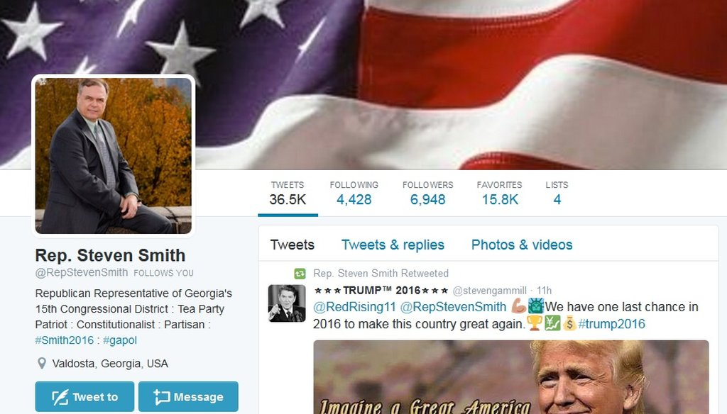 "The parody Twitter account of ""Rep. Steven Smith"" of Georgia"