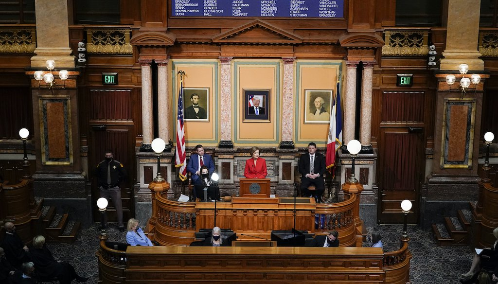 Iowa Gov. Kim Reynolds delivers her Condition of the State address before a joint session of the Iowa Legislature, on Jan. 12, 2021. (AP)