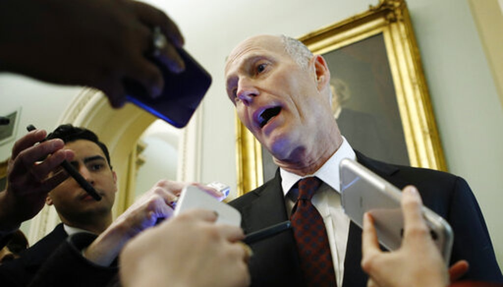 Sen. Rick Scott, R-Fla., talks to reporters prior to the start of the impeachment trial of President Donald Trump at the Capitol, Wednesday, Jan 29, 2020, in Washington. (AP)