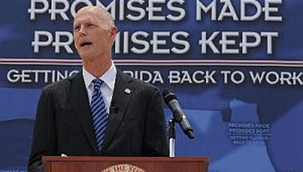 PolitiFact Florida measures Gov. Rick Scott's promises on the Scott-O-Meter.