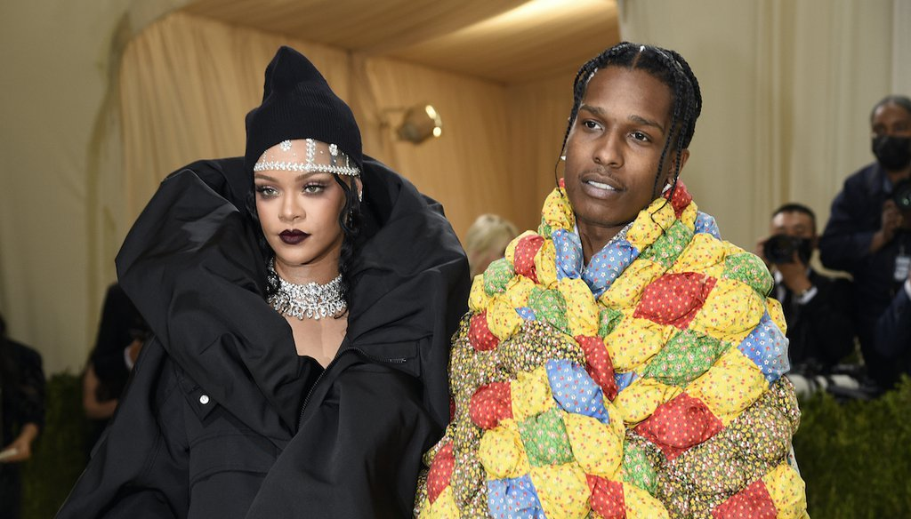 Rihanna and A$AP Rocky attend the Metropolitan Museum of Art's Costume Institute benefit gala on Sept. 13, 2021 (AP)