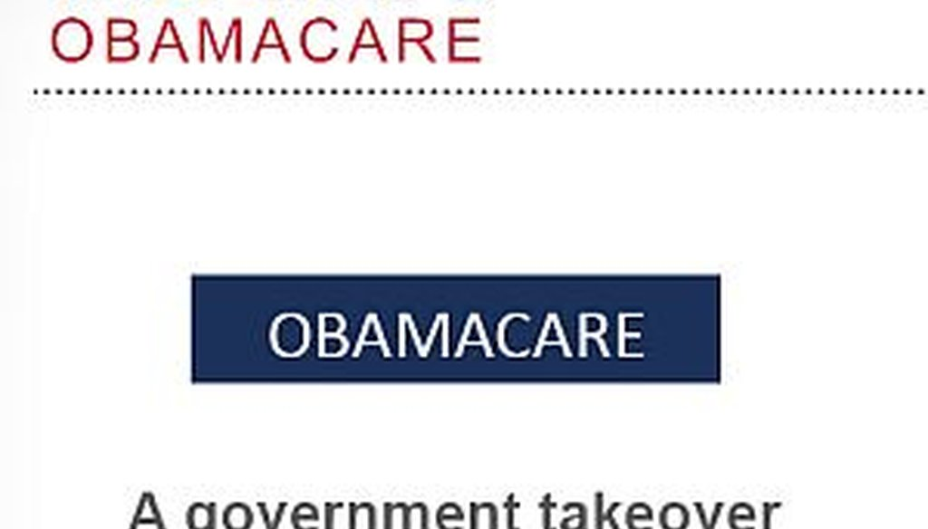 """In a PowerPoint presentation, Romney said the new health care law is a """"government takeover."""""""