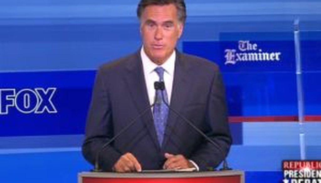 Former Massachusetts Gov. Mitt Romney was one of eight candidates to take part in a debate in Ames, Iowa, on Aug. 11, 2011.
