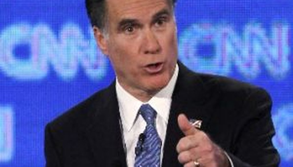 Republican presidential candidate and former Massachusetts Gov. Mitt Romney participates in a debate sponsored by CNN, the Republican Party of Florida and the Hispanic Leadership Network on Jan. 26, 2012, in Jacksonville, Fla.