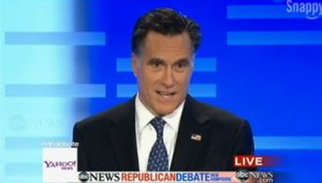 Former Massachusetts Gov. Mitt Romney participated in a Jan. 7, 2012, debate in Manchester, N.H.