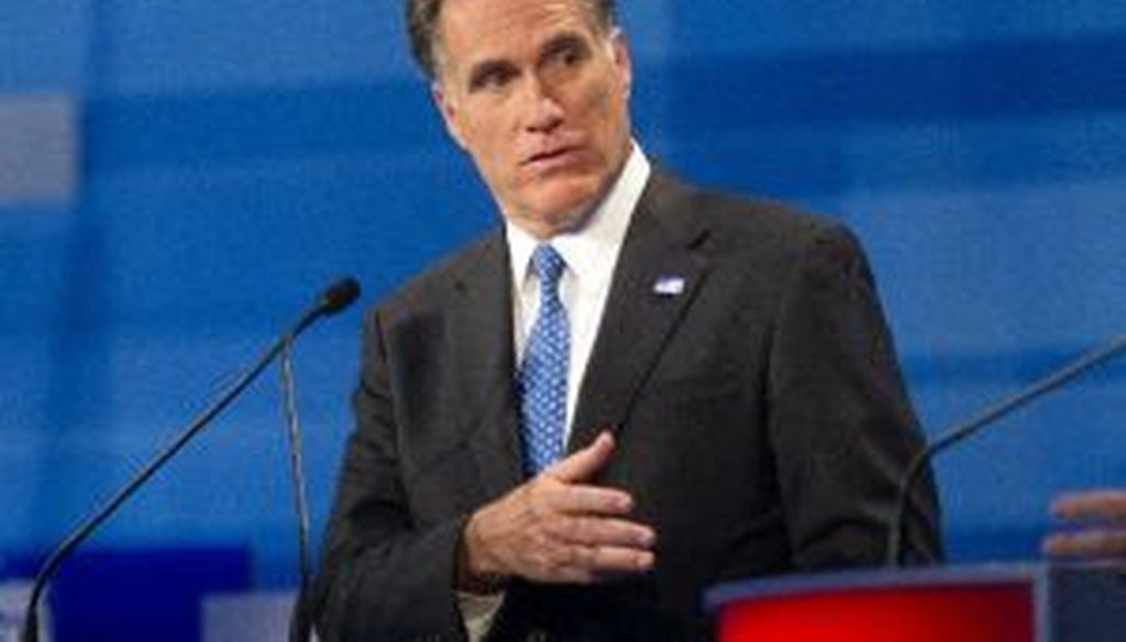 Mitt Romney was one of five remaining candidates to take part in a Republican presidential debate in Myrtle Beach, S.C., on Jan. 16, 2012.
