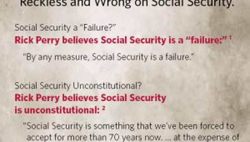 Mitt Romney attacked Rick Perry over Social Security in this recent mailer.