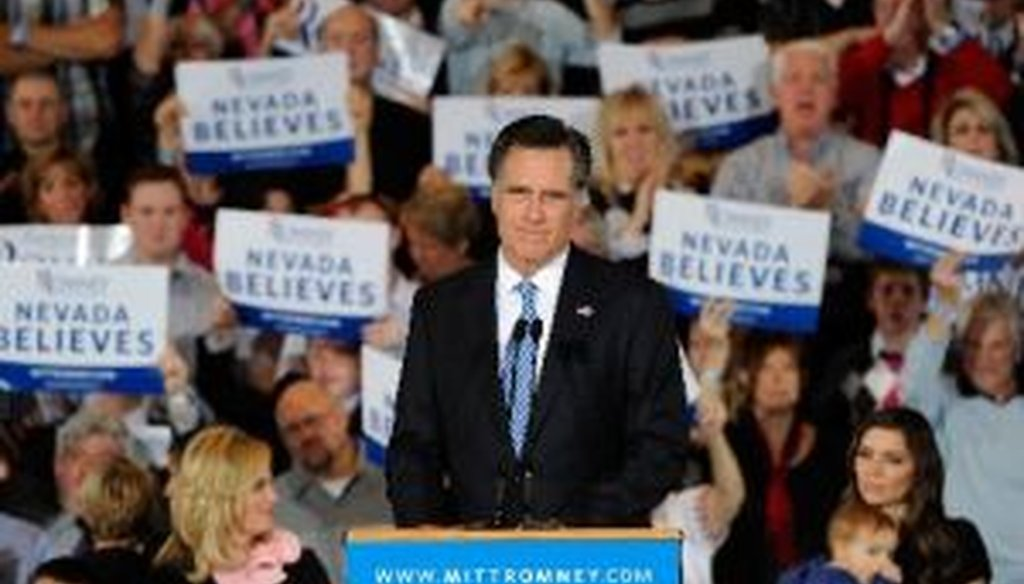 Mitt Romney speaks at the Red Rock Casino in Las Vegas, Nev., on Feb. 4, 2012, the day of the Nevada caucuses, which he won. We took a close look at this speech as a way of analyzing some of the themes he often articulates.