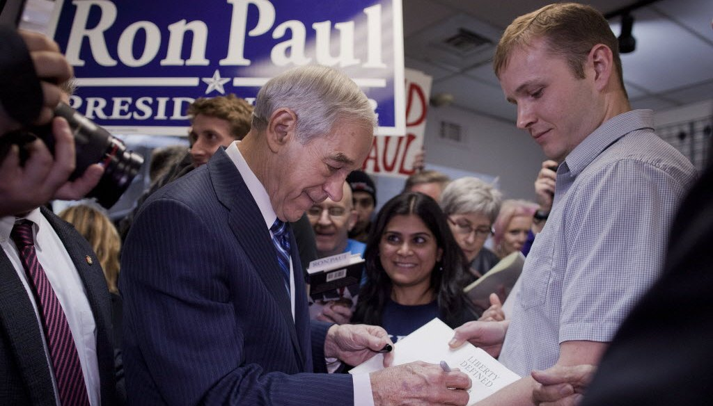 In this Associated Press photo, GOP presidential hopeful Ron Paul campaigns in Nevada. He'll be in Wisconsin this week.