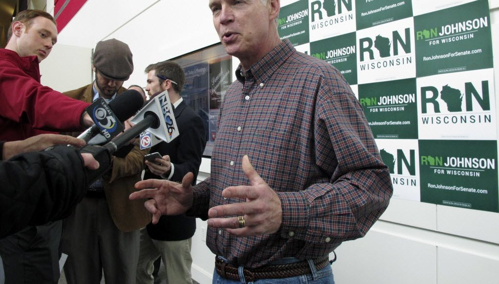 U.S. Sen. Ron Johnson, R-Wis., spoke to reporters in Green Bay on May 12, 2016 ahead of the Wisconsin Republican Party convention. He gave a speech at the convention the next day that drew sharp criticism from Democrats. (AP photo)