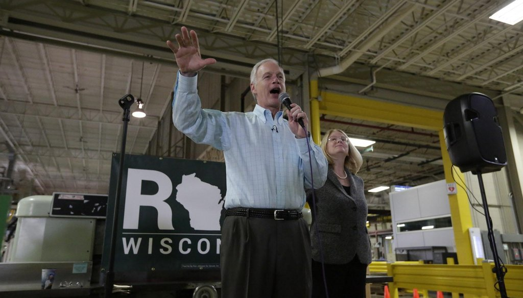 Republican U.S. Sen. Ron Johnson announced his re-election bid on May 2, 2016 at Pacur, his plastics manufacturing company in Oshkosh, Wis. (Joe Sienkiewicz photo)