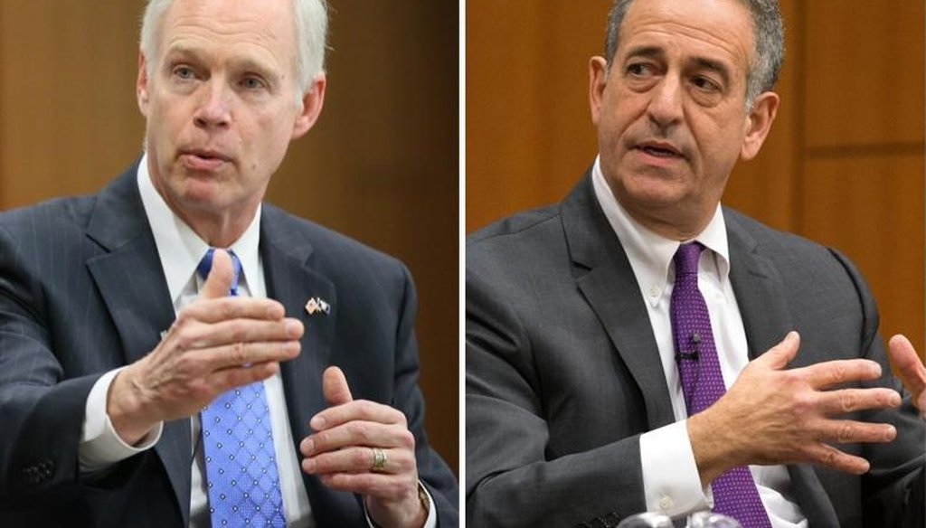 Republican incumbent Ron Johnson (left), in his bid to win re-election to the U.S. Senate, has criticized Democrat Russ Feingold's praise of Democratic presidential nominee Hillary Clinton.