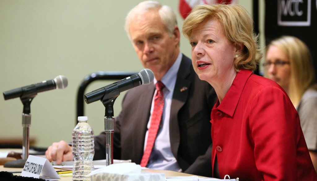 Wisconsin U.S. senators Ron Johnson and Tammy Baldwin participated in a Senate committee hearing called by Johnson on the nation's heroin problem. The hearing was held April 15, 2016 in Pewaukee, Wis. (Milwaukee Journal Sentinel photo by Michael Sears)