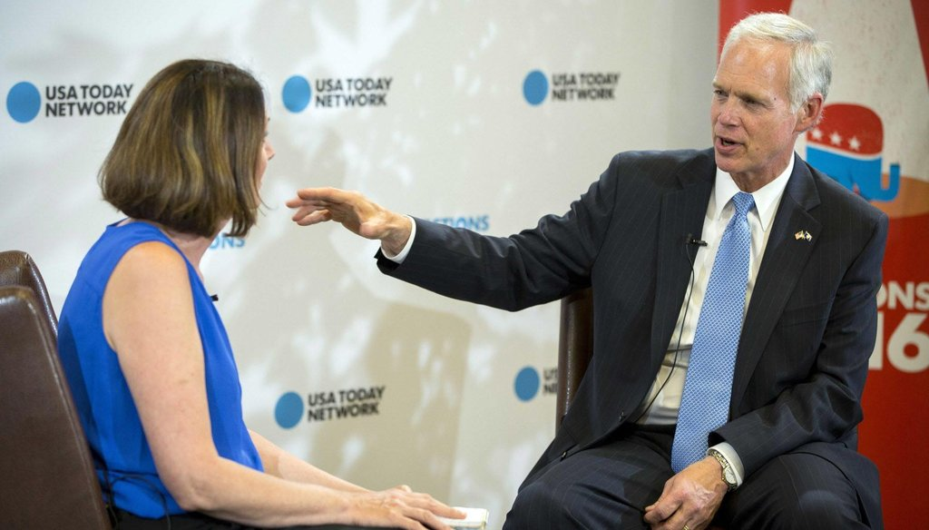 U.S. Sen. Ron Johnson, shown here in an interview, has attacked Democratic challenger Russ Feingold on Social Security and is the target of an attack regarding Social Security. (Milwaukee Journal Sentinel)
