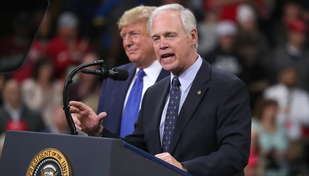 Sen. Ron Johnson addresses the crowd after President Donald Trump invited him to speak after he was introduced at a campaign rally at UW-Milwaukee Panther Arena Jan. 14, 2020. (Mike DeSisti/Milwaukee Journal Sentinel).