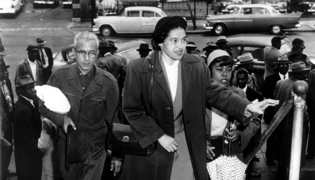 Rosa Parks arrives at circuit court to be arraigned in the racial bus boycott, Feb. 24, 1956 in Montgomery, Ala. (AP)