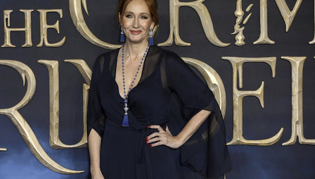 Writer J.K. Rowling poses for photographers on arrival at the premiere of the film 'Fantastic Beasts: The Crimes of Grindelwald', in London, Nov. 13, 2018. (AP)