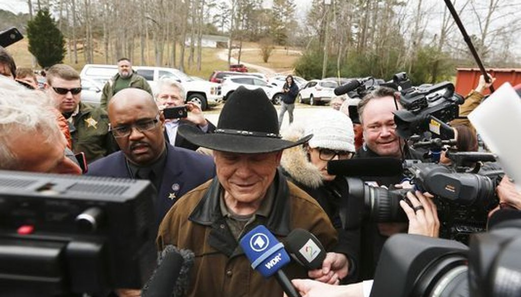 Roy Moore, who lost his bid for U.S. Senate, appeared in Gallant, Alabama on election day Dec. 12, 2017. (AP)