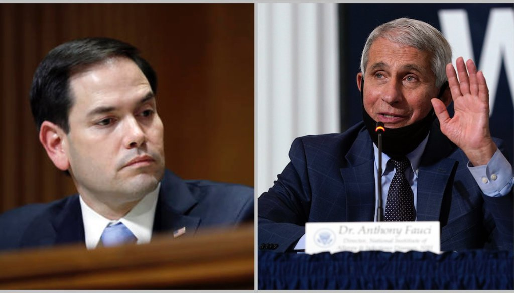 Marco Rubio says Anthony Fauci lied about masks. Fauci didn't.