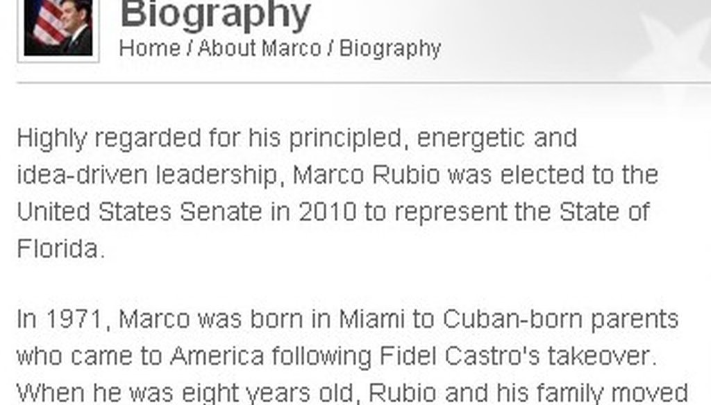 A screen grab of Marco Rubio's Senate website.
