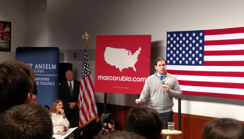 Marco Rubio holds a town hall meeting at the St. Anselm's College Institute of Politics in Manchester, N.H., on Feb. 4, 2016 (Louis Jacobson)