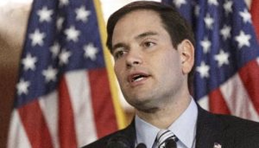 "Sen. Marco Rubio, R-Fla., spoke on ""American dream"" on the 50th anniversary of President Lyndon Johnson's first State of the Union address in 1964, on Capitol Hill in Washington. We checked one of his claims about poverty and marriage."
