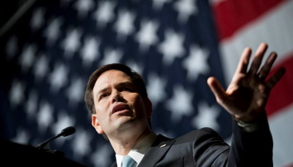 Republican presidential candidate Marco Rubio speaks at the Georgia Republican Convention on May 15, 2015.
