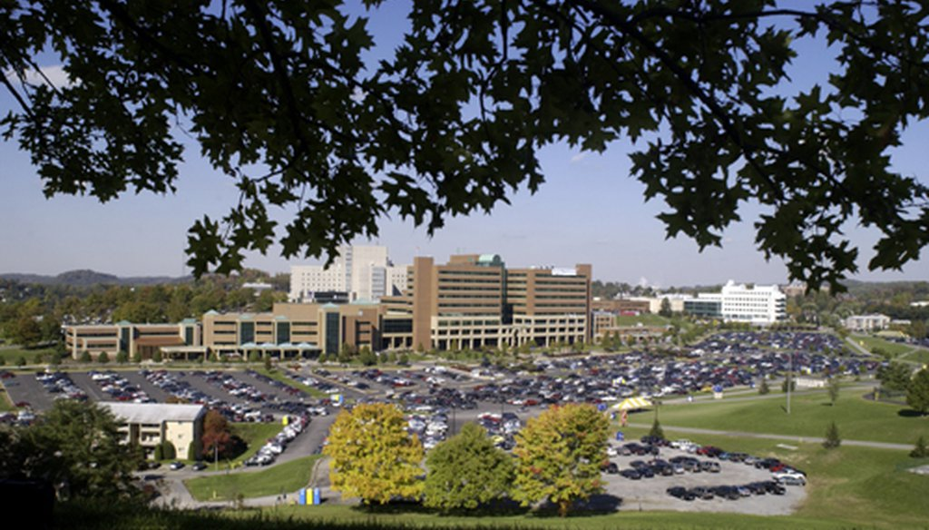 Ruby Memorial Hospital and the West Virginia University Health Sciences campus in Morgantown, W.Va. (Creative Commons)