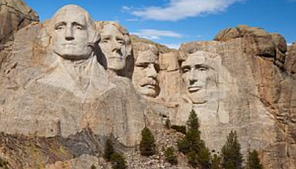 Mount Rushmore: (from left) George Washington, Thomas Jefferson, Theodore Roosevelt, and Abraham Lincoln.