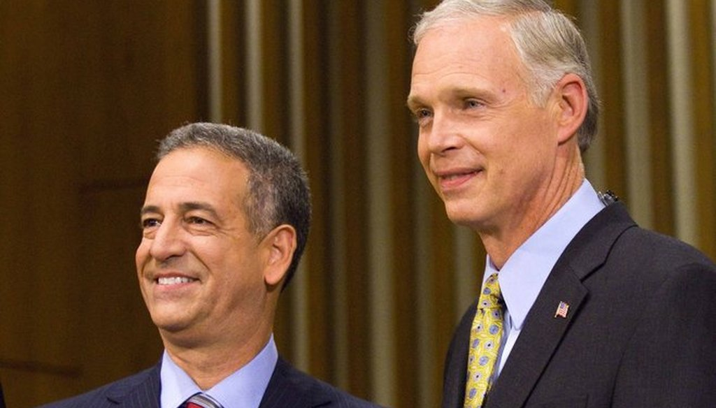 Democrat Russ Feingold (left) and Republican Ron Johnson before a debate in the 2010 election. Feingold, then the U.S. senator, was defeated by Johnson. The two are in a rematch in 2016. (Getty Images)