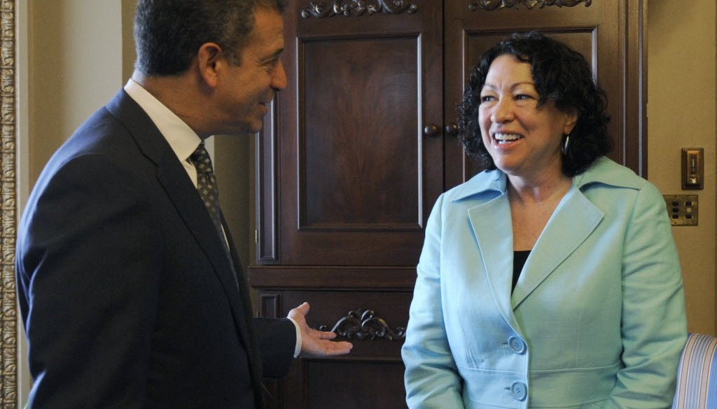 Then-U.S. Sen. Russ Feingold, a Democrat from Wisconsin, meets Sonya Sotomayor soon after her nomination to the U.S. Supreme Court, in this 2009 photo. (Associated Press)