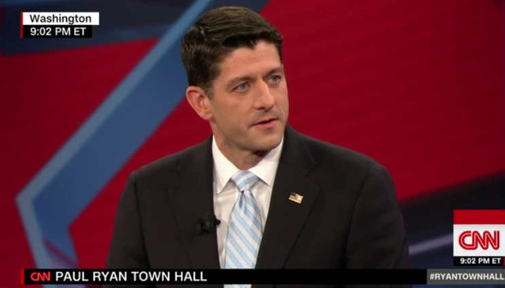 House Speaker Paul Ryan said the House had done its part to repeal and replace Obamacare during a CNN town hall. (Screenshot)