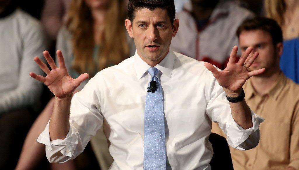 House Speaker Paul Ryan speaks in April 2016 at Georgetown University. (Getty images)