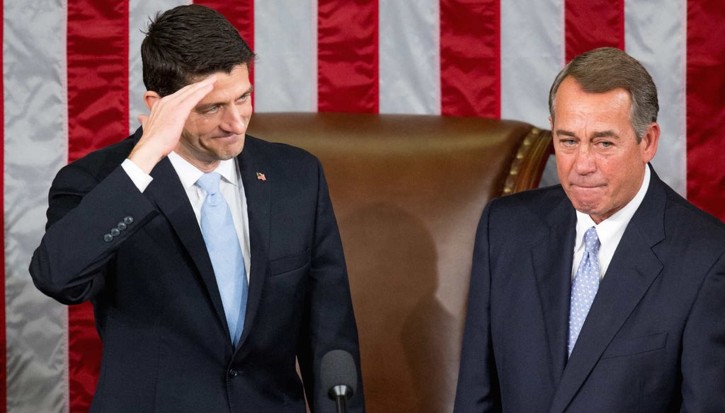 The changing of the guard as Paul Ryan, R-Wis., takes over as Speaker of the House and John Boehner, R-Ohio, steps down. (AP)
