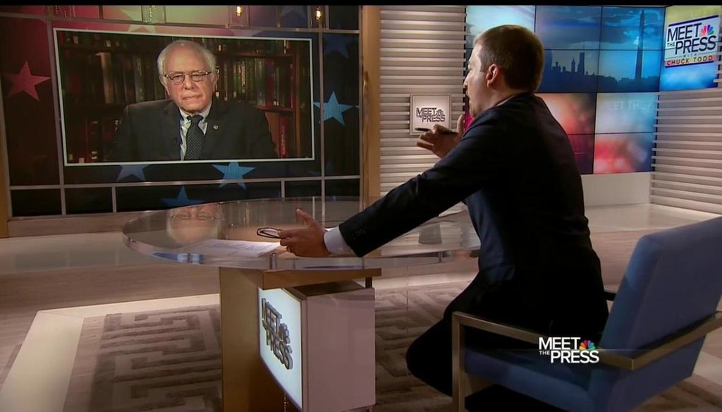 """Sen. Bernie Sanders discussing his comments about Hillary Clinton's presidential qualifications on NBC's """"Meet the Press"""" with host Chuck Todd on April 10, 2016. (NBC photo)"""