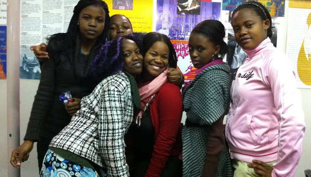 Teacher and teenage school girls in Johannesburg, South Africa. (Allissa Richardson)