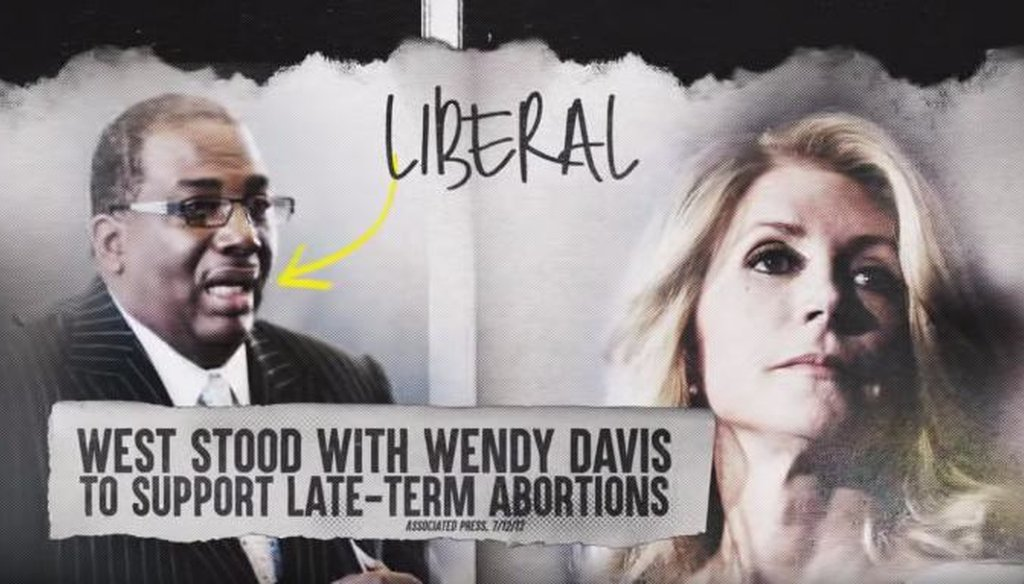 In an ad about state Sen. Royce West, U.S. Sen. John Cornyn said the Democrat stood with Wendy Davis to support late-term abortion. Is that true?