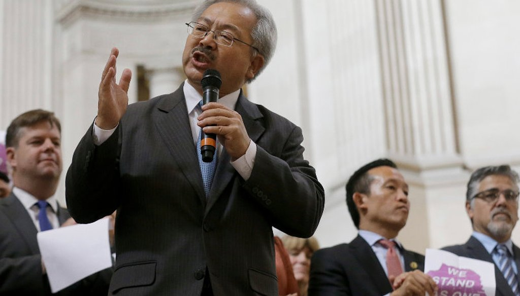 San Francisco Mayor Ed Lee speaks during a meeting at City Hall in San Francisco by city leaders and community activists to reaffirm the city's commitment to being a sanctuary city. Nov. 14, 2016. AP Photo/Jeff Chiu
