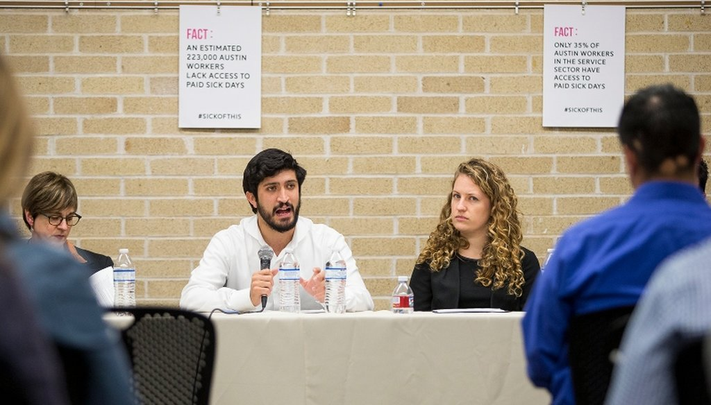 Austin City Council Member Greg Casar speaks at a forum about a city ordinance to require paid sick leave in January 2018. (Nick Wagner/Austin American-Statesman)