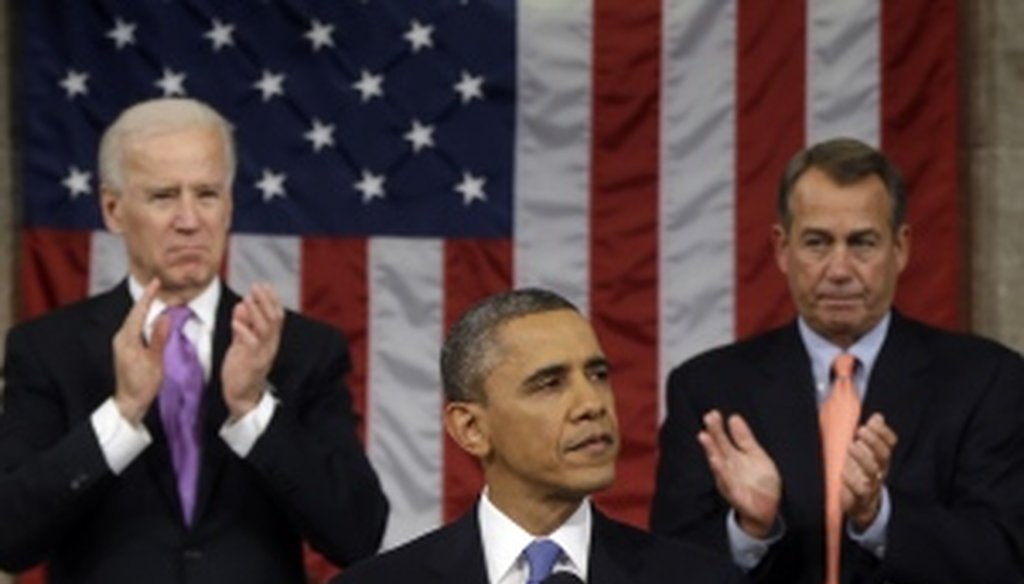 President Barack Obama delivers the State of the Union address to a joint session of Congress.