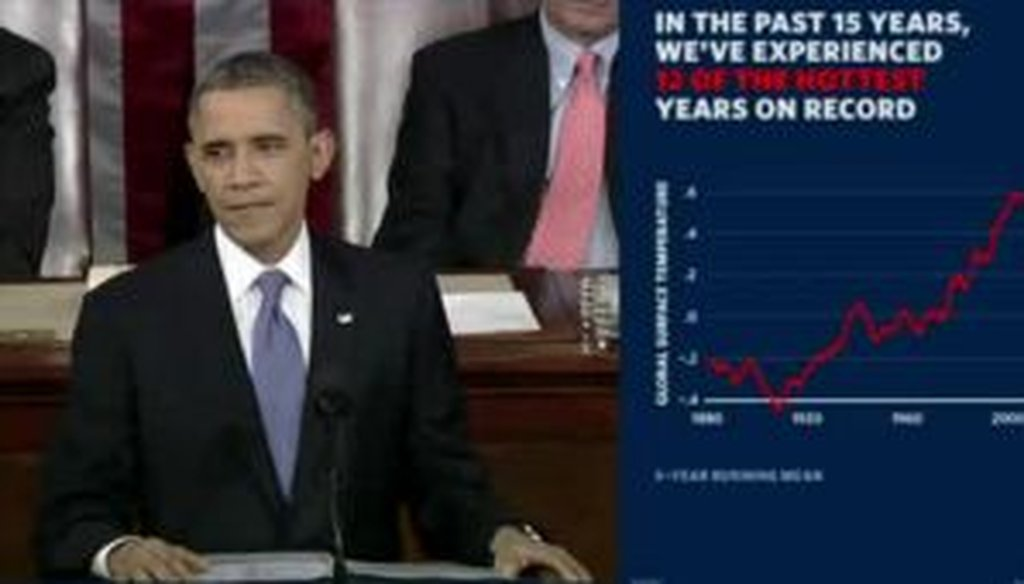 Here's the graph the White House offered to back up President Barack Obama's claim on global temperatures...